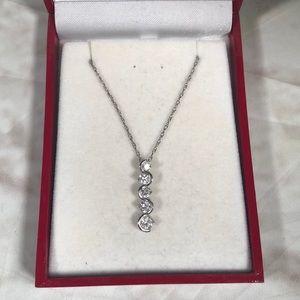 """Silver diamond necklace 18"""" chain"""